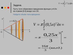 Задача. Пусть тело образовано вращением функции у=0,5x на отрезке [0;4] вокру