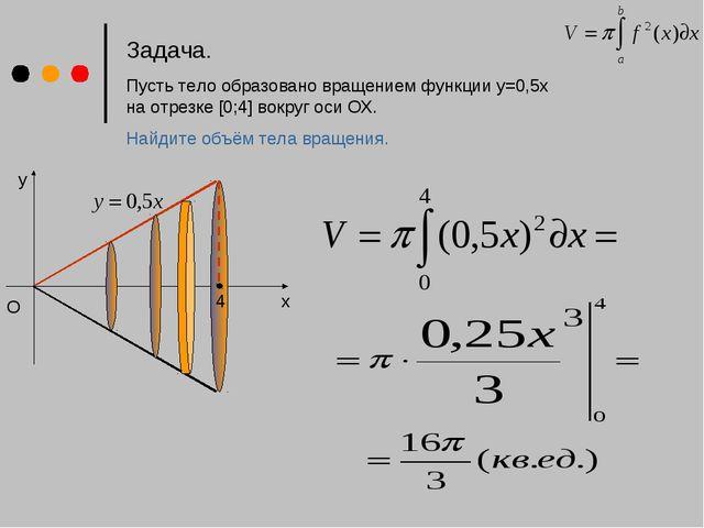 Задача. Пусть тело образовано вращением функции у=0,5x на отрезке [0;4] вокру...