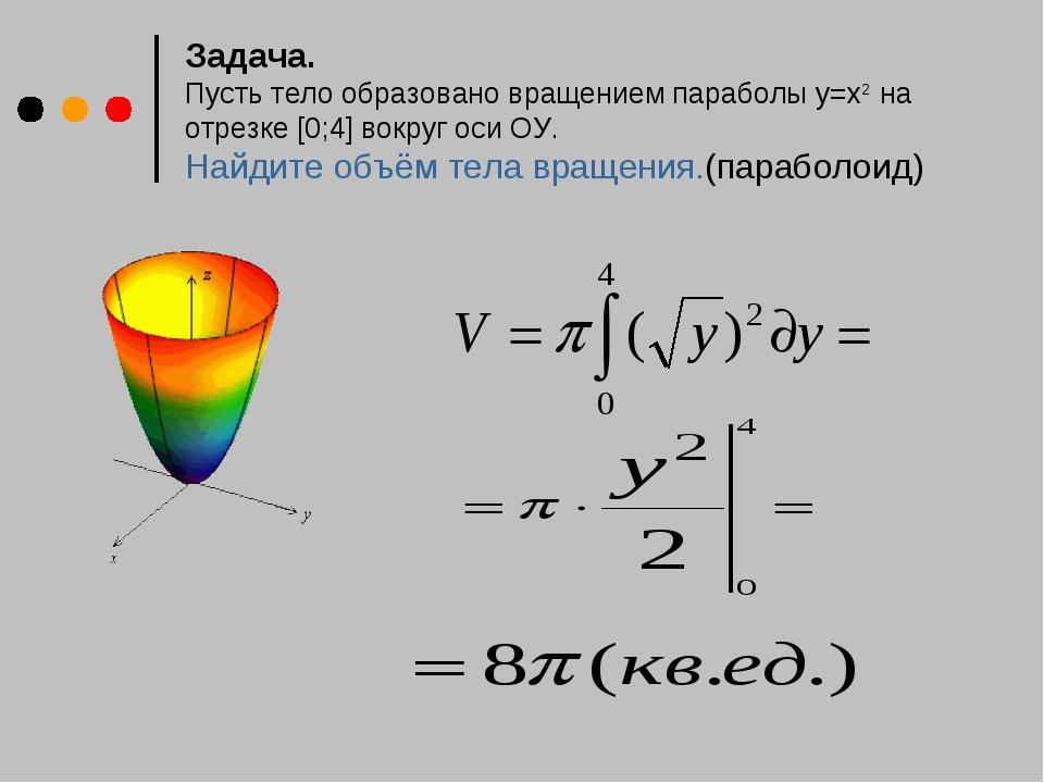 Задача. Пусть тело образовано вращением параболы у=х2 на отрезке [0;4] вокру...