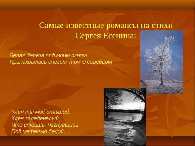 Самые известные романсы на стихи Сергея Есенина: Белая берёза под моим окном...