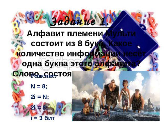Задание 1. Алфавит племени Мульти состоит из 8 букв. Какое количество информа...