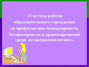 «Система работы образовательного учреждения  по профилактике безнадзорности