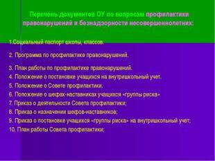 Перечень документов ОУ по вопросам профилактики правонарушений и безнадзорнос