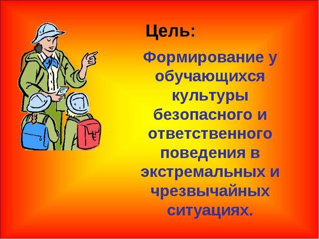 Цель: Формирование у обучающихся культуры безопасного и ответственного поведе...