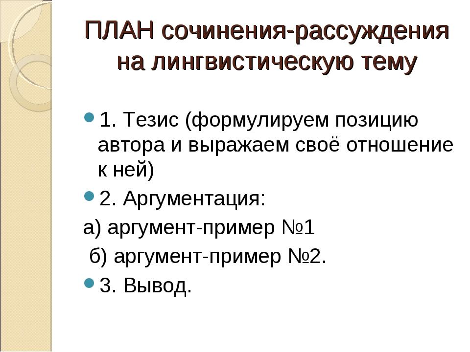 ПЛАН сочинения-рассуждения на лингвистическую тему 1. Тезис (формулируем пози...