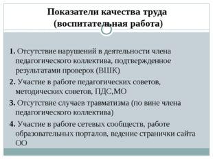 Показатели качества труда (воспитательная работа) 1. Отсутствие нарушений в д