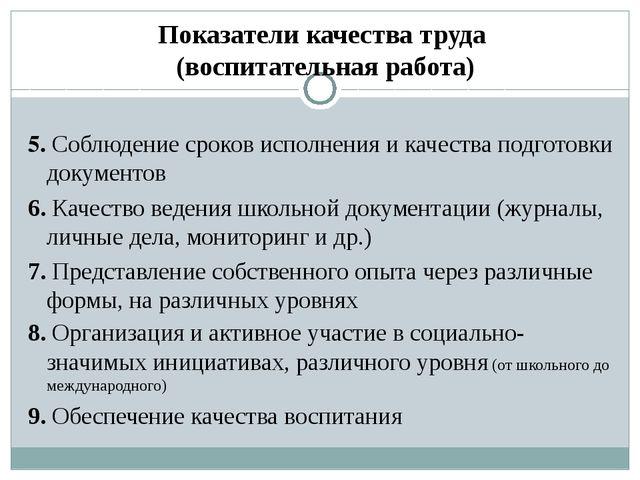 Показатели качества труда (воспитательная работа) 5. Соблюдение сроков исполн...