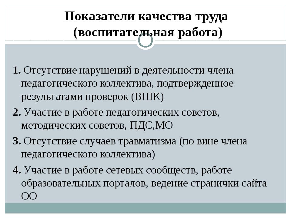 Показатели качества труда (воспитательная работа) 1. Отсутствие нарушений в д...