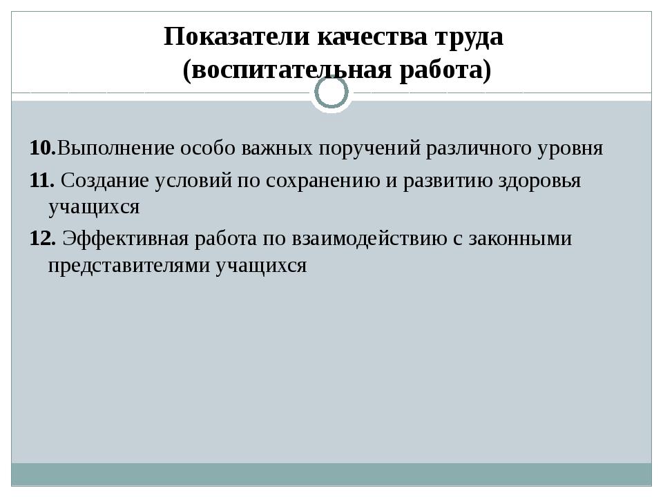 Показатели качества труда (воспитательная работа) 10.Выполнение особо важных...