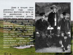 Даже в лучшие свои довоенные годы семья Есениных фактически жила не на дерев