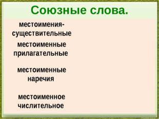 Союзные слова. местоимения-существительные местоименные прилагательные местои