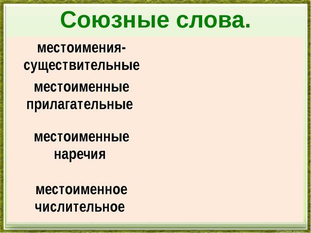 Союзные слова. местоимения-существительные местоименные прилагательные местои...