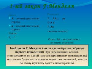 1-ый закон Г.Менделя Дано: Решение А – желтый цвет семян гороха; а – зеленый