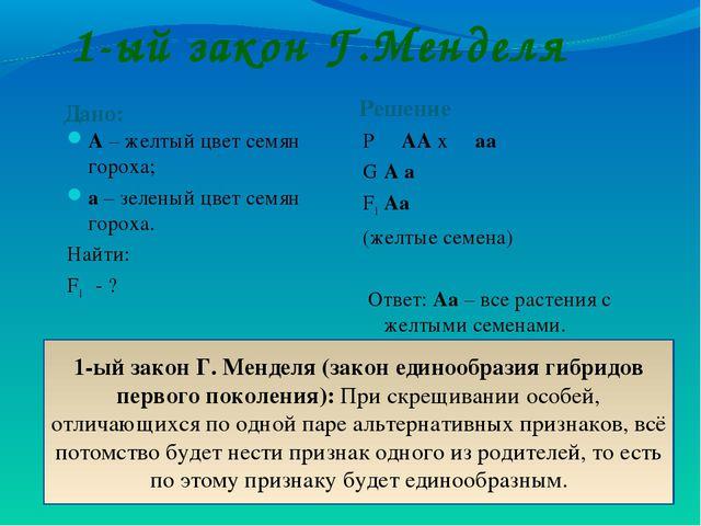 1-ый закон Г.Менделя Дано: Решение А – желтый цвет семян гороха; а – зеленый...