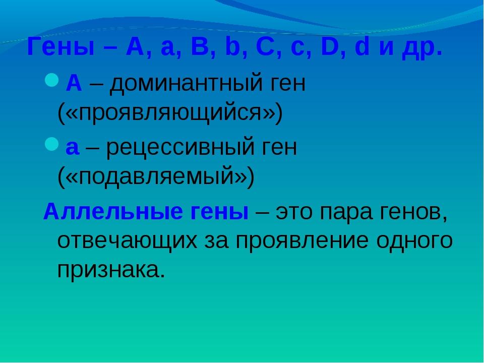 Гены – A, a, B, b, C, c, D, d и др. А – доминантный ген («проявляющийся») а –...