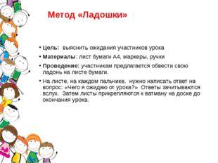 Метод «Ладошки» Цель: выяснить ожидания участников урока Материалы: лист бума