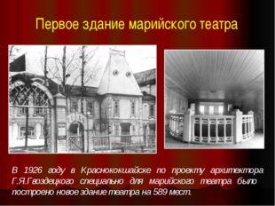 Первое здание марийского театра В 1926 году в Краснококшайске по проекту архи