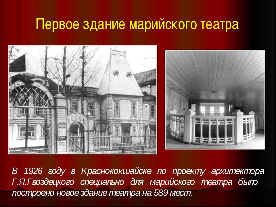 Первое здание марийского театра В 1926 году в Краснококшайске по проекту архи...