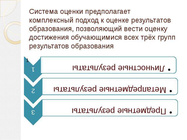 Система оценки предполагает комплексный подход к оценке результатов образован...