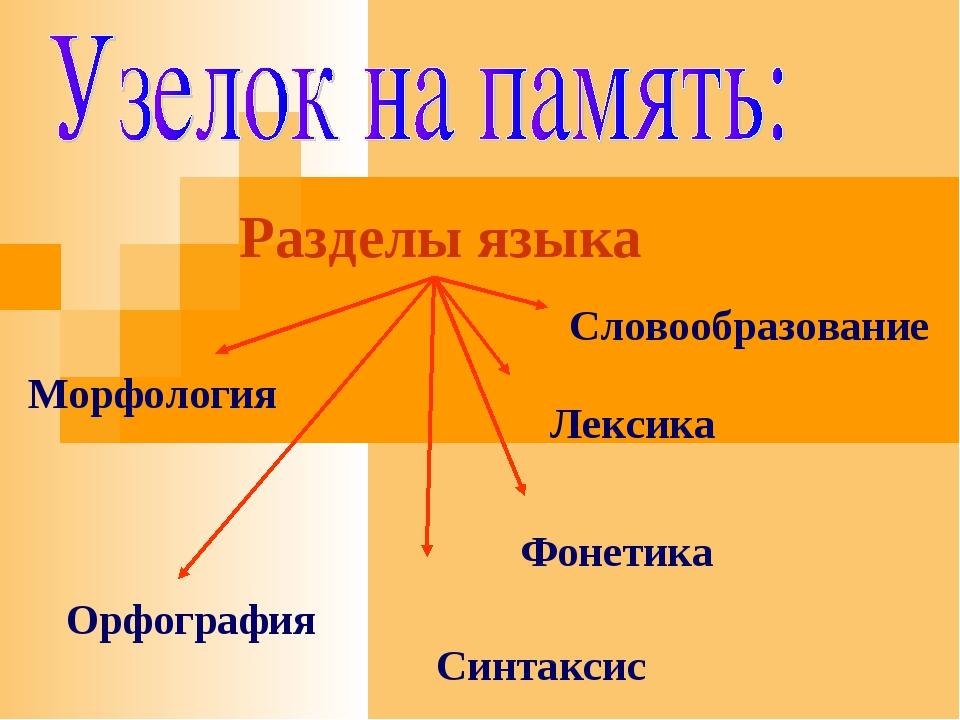 Разделы языка Орфография Словообразование Лексика Фонетика Морфология Синтаксис
