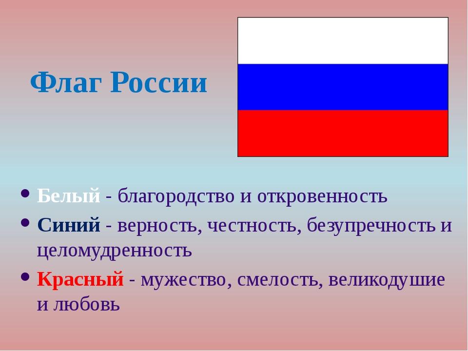 Флаг России Белый - благородство и откровенность Синий - верность, честность,...