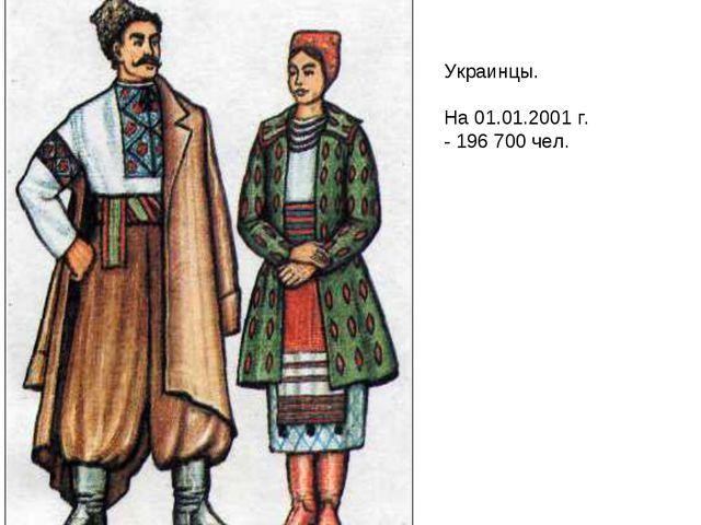 Украинцы. На 01.01.2001 г. - 196 700 чел.