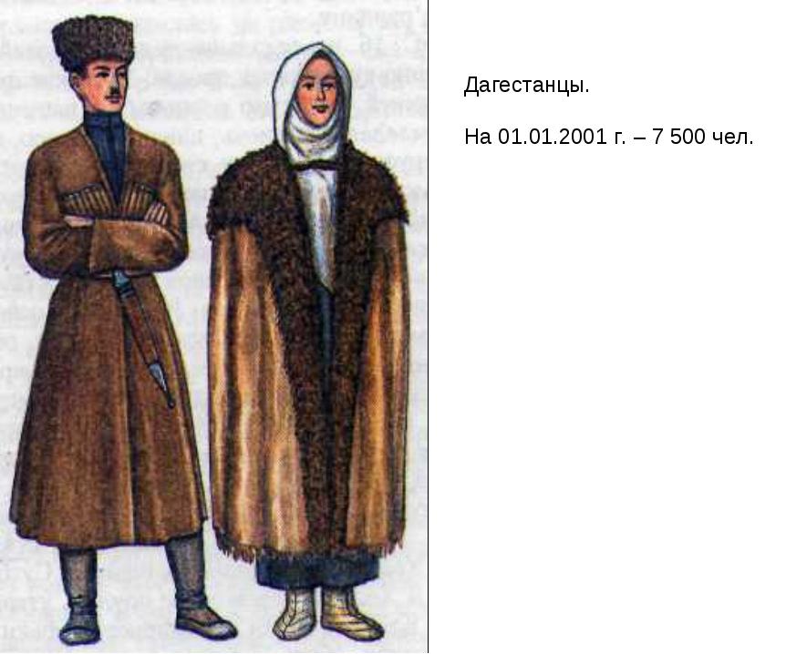 Дагестанцы. На 01.01.2001 г. – 7 500 чел.
