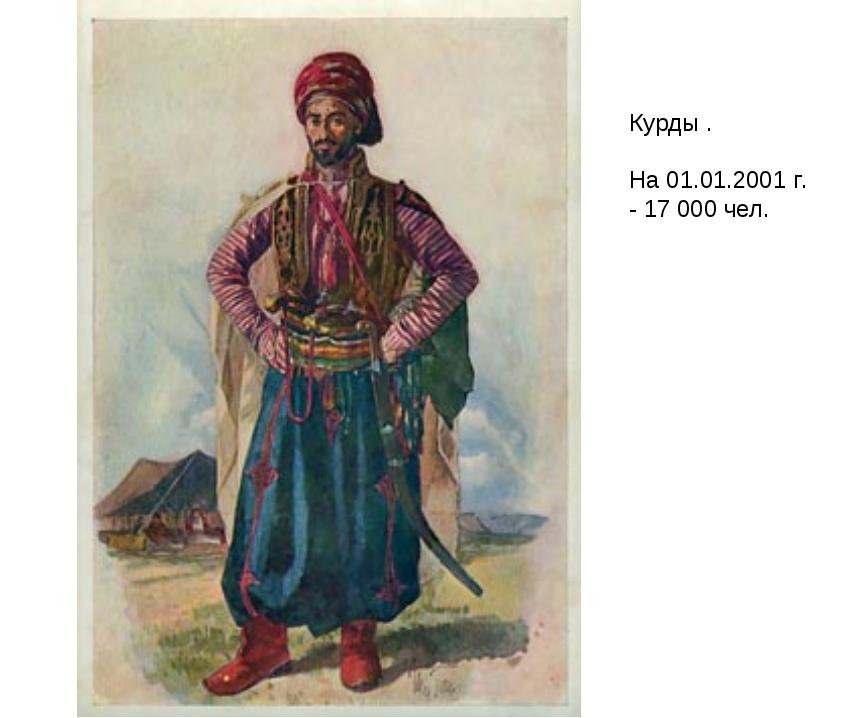 Курды . На 01.01.2001 г. - 17 000 чел.