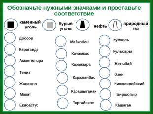 Обозначьте нужными значками и проставьте соответствие каменный уголь нефть бу