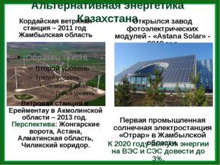 Альтернативная энергетика Казахстана Кордайская ветряная станция – 2011 год Ж