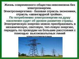 Жизнь современного общества невозможна без электроэнергии. Электроэнергетика
