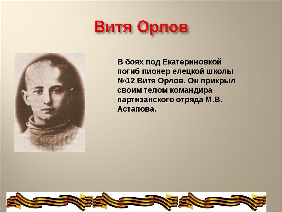 В боях под Екатериновкой погиб пионер елецкой школы №12 Витя Орлов. Он прикры...
