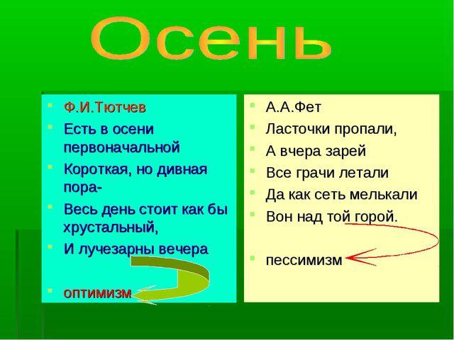 Ф.И.Тютчев Есть в осени первоначальной Короткая, но дивная пора- Весь день ст...