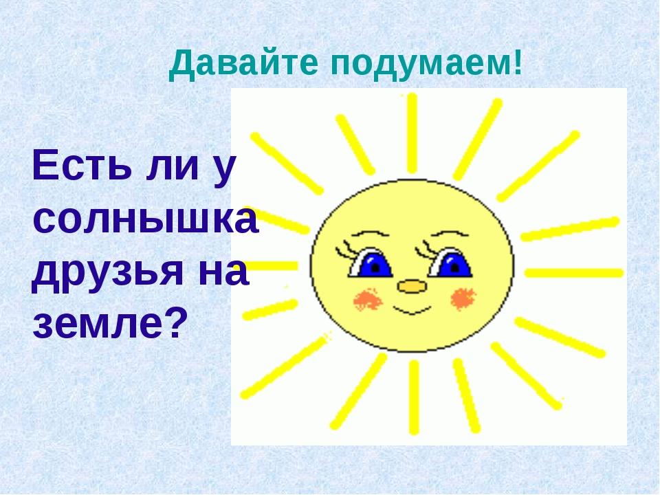 Давайте подумаем! Есть ли у солнышка друзья на земле?