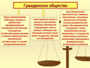 Гражданское общество Сфера самопроявления свободных граждан и добровольно сфо