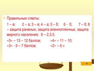 Правильные ответы: 1 – в;2 – а;3 – в;4 – а;5 – б; 6 - б;7 – б;8 – защи