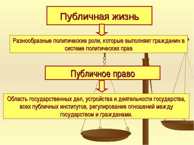Публичная жизнь Разнообразные политические роли, которые выполняет гражданин...