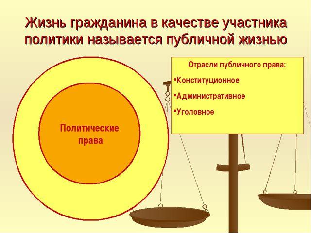 Жизнь гражданина в качестве участника политики называется публичной жизнью По...