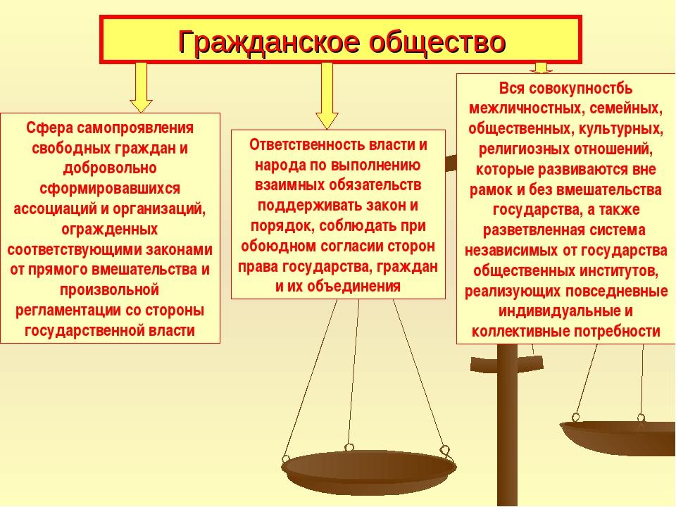 Гражданское общество Сфера самопроявления свободных граждан и добровольно сфо...