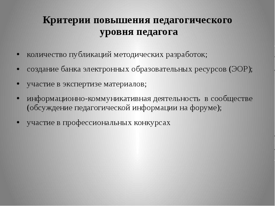Критерии повышения педагогического уровня педагога количество публикаций мето...