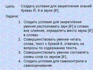 Цель: Создать условия для закрепления знаний о буквах Й, й и звуке [й']. Зада