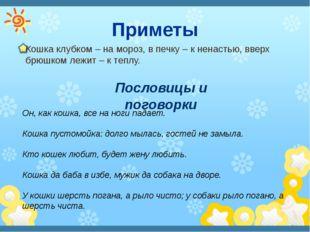 Приметы Кошка клубком – на мороз, в печку – к ненастью, вверх брюшком лежит –