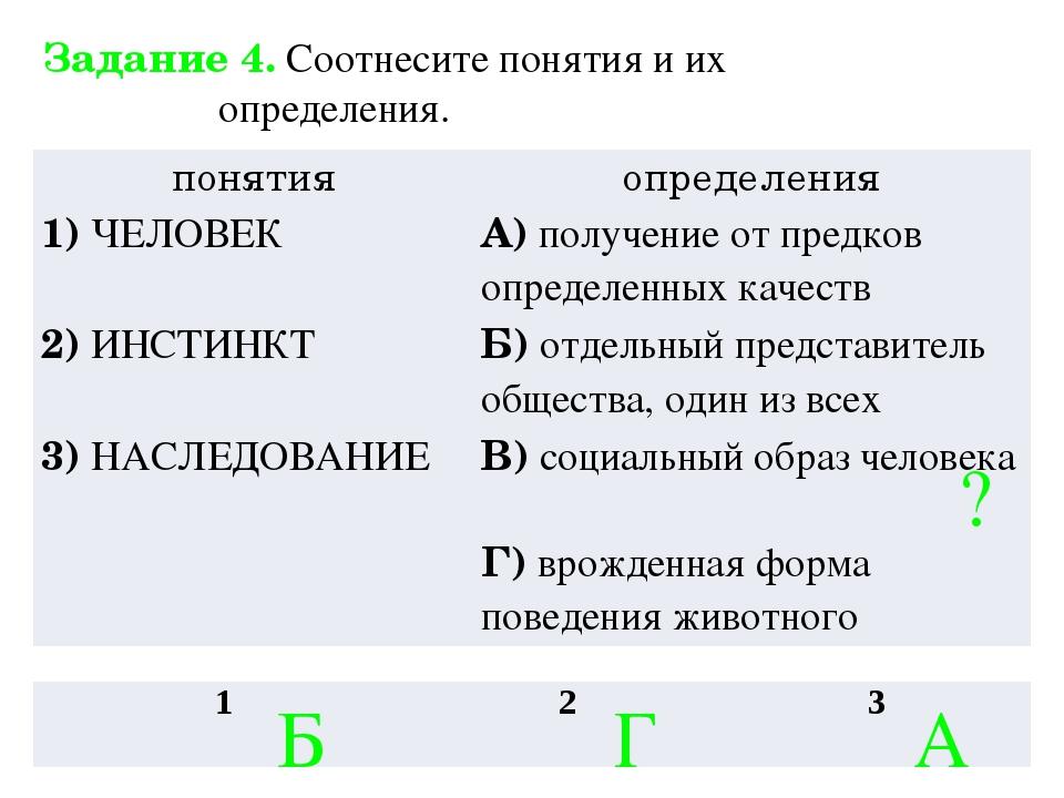Задание 4. Соотнесите понятия и их определения. ? Б Г А понятия определения 1...