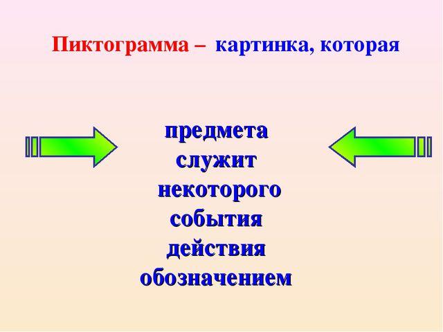 предмета служит некоторого события действия обозначением Пиктограмма – картин...