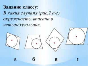 Задание классу: В каких случаях (рис.2 а-г) окружность, вписана в четырехугол