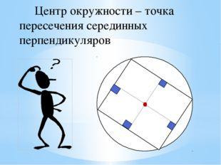 Центр окружности – точка пересечения серединных перпендикуляров