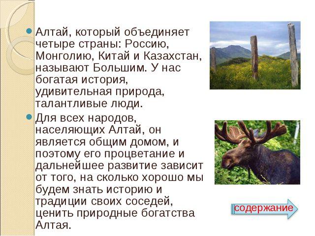 Алтай, который объединяет четыре страны: Россию, Монголию, Китай и Казахстан...
