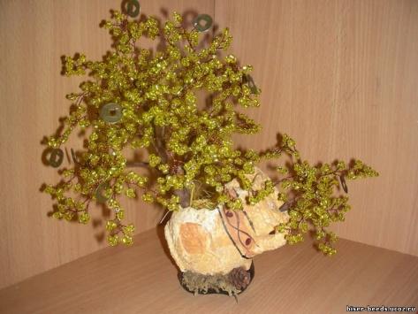 Дерево из бисера Денежное дерево