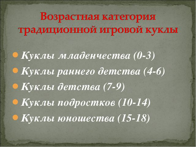Куклы младенчества (0-3) Куклы раннего детства (4-6) Куклы детства (7-9) Кукл...
