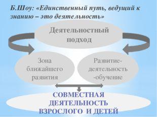 Б.Шоу: «Единственный путь, ведущий к знанию – это деятельность» Деятельностны